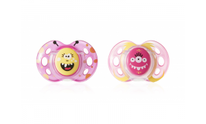 Pacifier C2N silicon Fun Girl, 2 pcs, 18 - 36 months